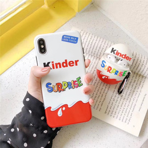 Candy Chocolate Brand funnly cute Kinder Joy surprise egg silicone case for iphone X XR XS 11 Pro Max 6s 7 8 plus luxury cover(China)