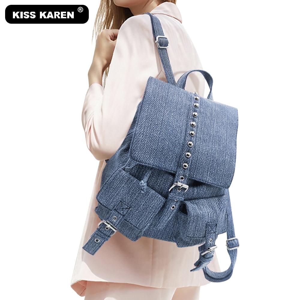 """Džinsinės moteriškos kuprinės su dygliuotomis virvelėmis kuprinė Erdvi moterų džinsų krepšys Įprastos mados dienos kuprinės """"Unisex"""" kelioninės kuprinės Krepšiai"""