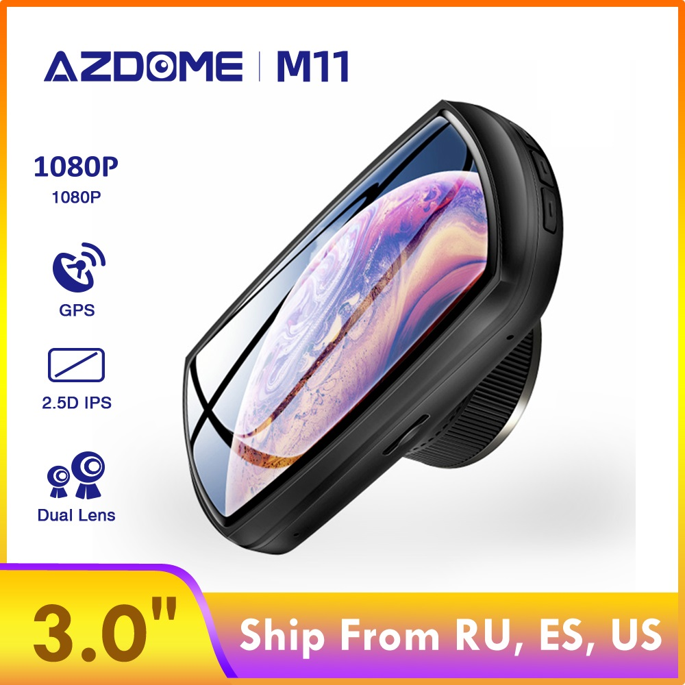 Видеорегистратор AZDOME M11, 24-часовой монитор парковки, автомобильная мини-камера, видеорегистратор с двумя объективами, поддержка ночного вид...