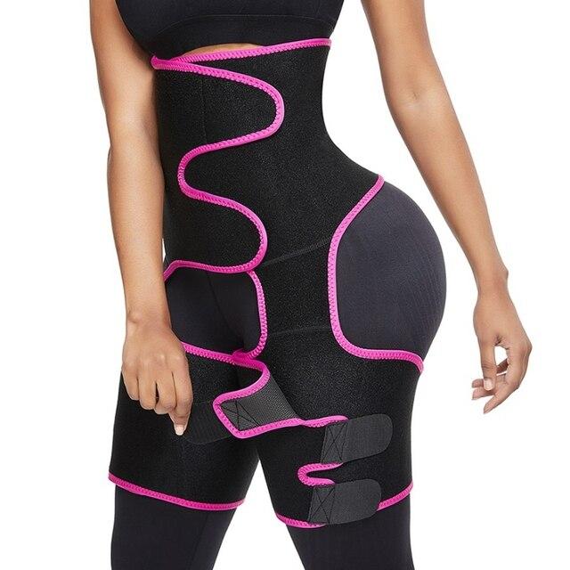 Women Sweat Slim Thigh Trimmer Leg Shapers 3 in 1 Neoprene Push Up Waist Trainer Panties Fat Burning Heat Compress Slimming Belt
