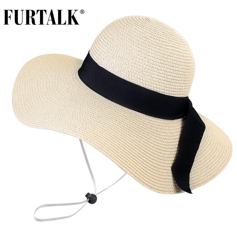 FURTALK Summer Beach Hat Women Large Straw Hat Big Brim Sun Hats UV Protection Foldable Roll Up Floppy Cap chapeu feminino 2020 3