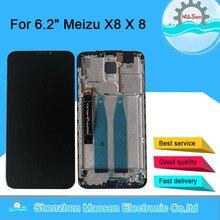 """6.2 """"オリジナルm & セン魅X8 M852H液晶画面表示のためのフレーム + タッチスクリーンパネルデジタイザ2220*1080魅X8 × 8ディスプレイ"""