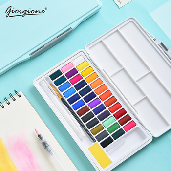 48 Colors Giorgione Solid Watercolor Paint Set Macarons Water Color Pigment Portable Box With Water Brush Pen Art Supplies 21 colors solid watercolor palette pigment powder paint set with water brush watercolor paper watercolor pen watercolors box set