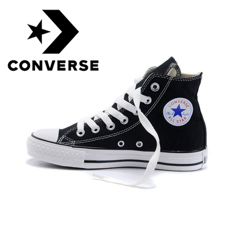 Original autêntico converse all star classic high-top unisex sapatos de skate rendas sapatos de lona preto e branco 101010