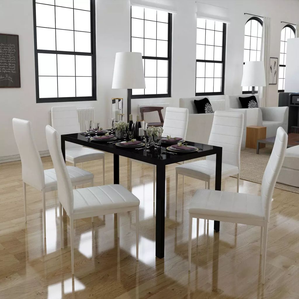 Seven Piece Dining Table and Chair Set Black and White 1