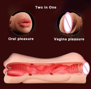 Image 5 - 현실적인 질 구강 실리콘 남성 자위대 음모와 입 인공 3D 깊은 목구멍 혀 치아 섹스 토이 남자