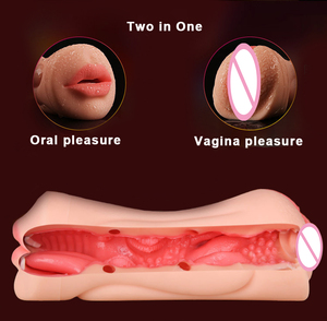 Image 5 - Realistic Vagina Oral Silicone Male Masturbator Pussy and Mouth Artificial 3D Deep Throat with Tongue Teeth Sex Toys for Men