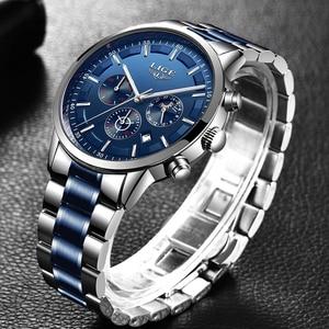 Image 2 - Relogio Masculino 2020 LIGE nowe mody męskie zegarki Top marka luksusowe wodoodporny zegar srebrny stal duża tarcza Sport Chronograph