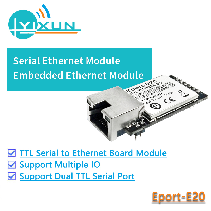 CE FCC HF Eport-E20  Free RTOS Network Server Port TTL Serial To Ethernet Embedded Module DHCP TCP IP Telnet Converter MCU