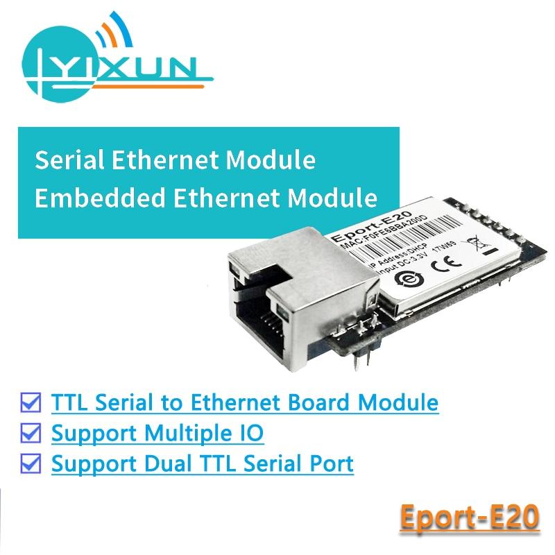 CE FCC HF Eport-E20  Free RTOS Network Server Port TTL Serial To Ethernet Embedded Module DHCP TCP IP Telnet Converter MCU
