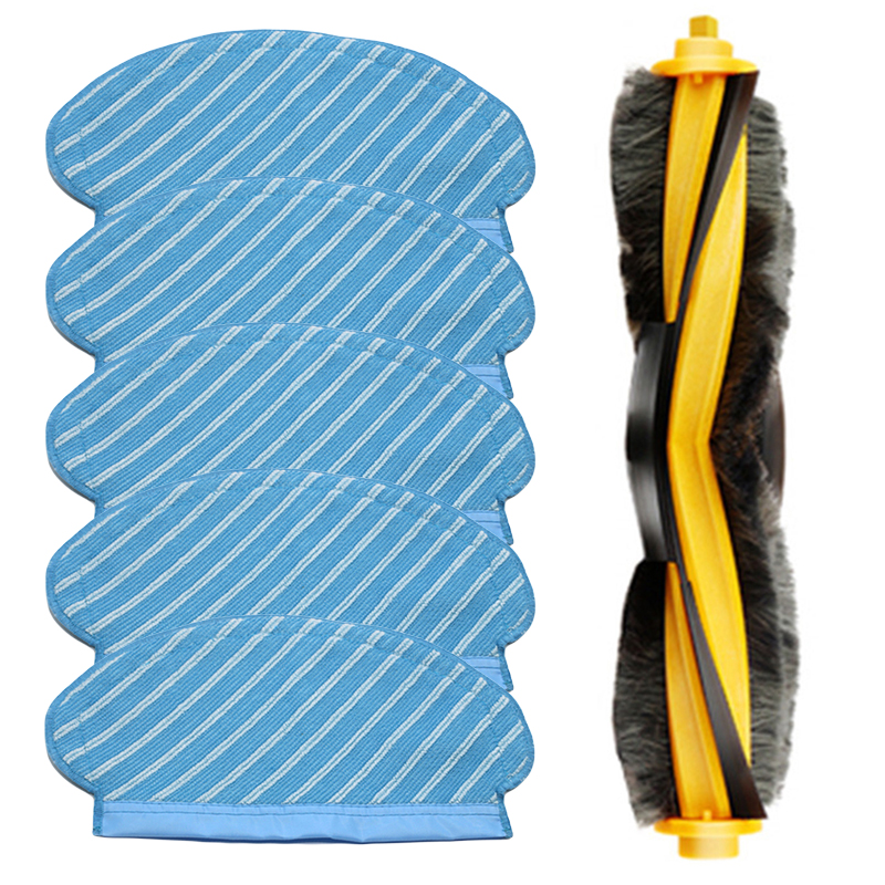 6pcs/Set Vacuum Cleaner Mop Cloth For Ecovacs Deebot OZMO 920 950 Roller Brushes Home Appliance Parts Dust Dirt Remover