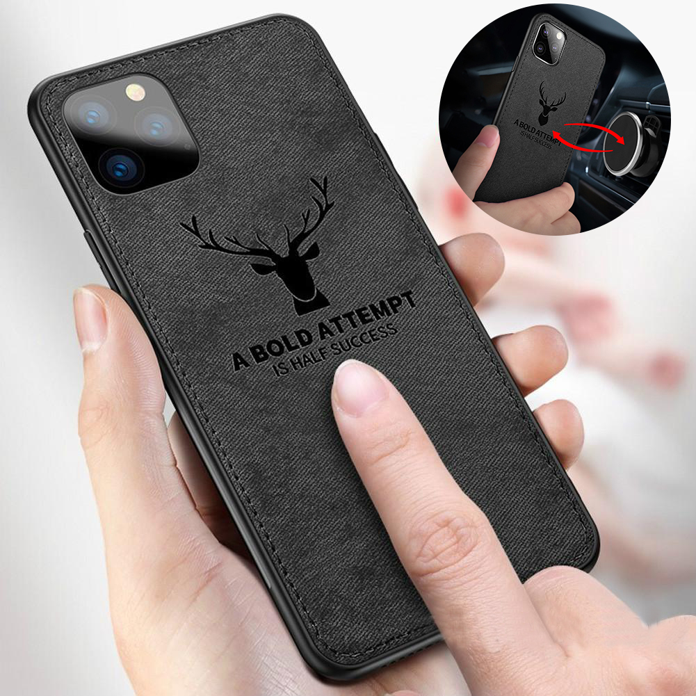 Magnetic Cloth Texture Deer Case For Iphone 11 Pro XS MAX XR X 6 7 8 Plus Built-In Magnet Soft TPU Back Cover For Huawei Mate 30