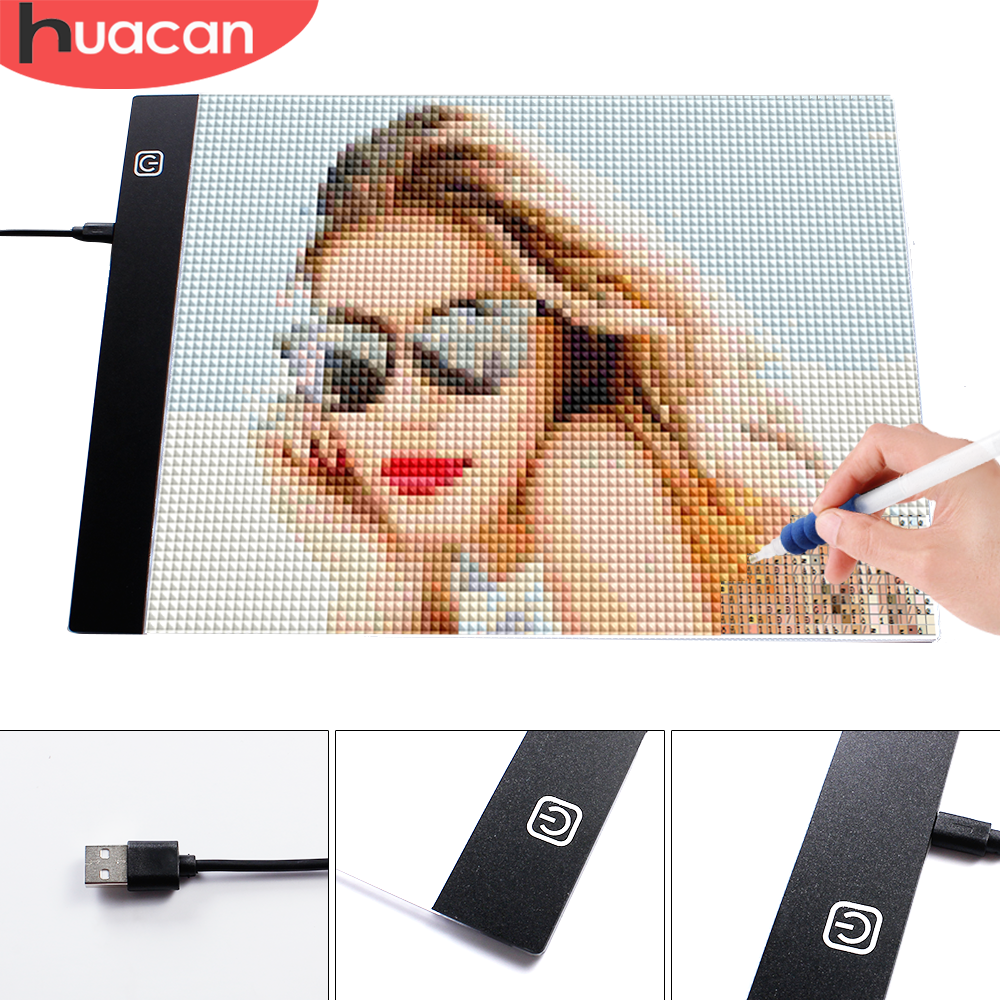 HUACAN Diamond Painting <font><b>A4</b></font> A5 <font><b>LED</b></font> <font><b>Light</b></font> Tablet <font><b>Pad</b></font> Diamond Mosaic Accessories Three Level <font><b>Dimmable</b></font> Ultrathin image