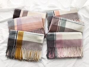 Image 5 - Winter Soft Warm Wool Brand Plaid Scarf 2019 New Design Cashmere Scarf Women Fashion Shawl For Ladies Scarves Wraps Pashmina