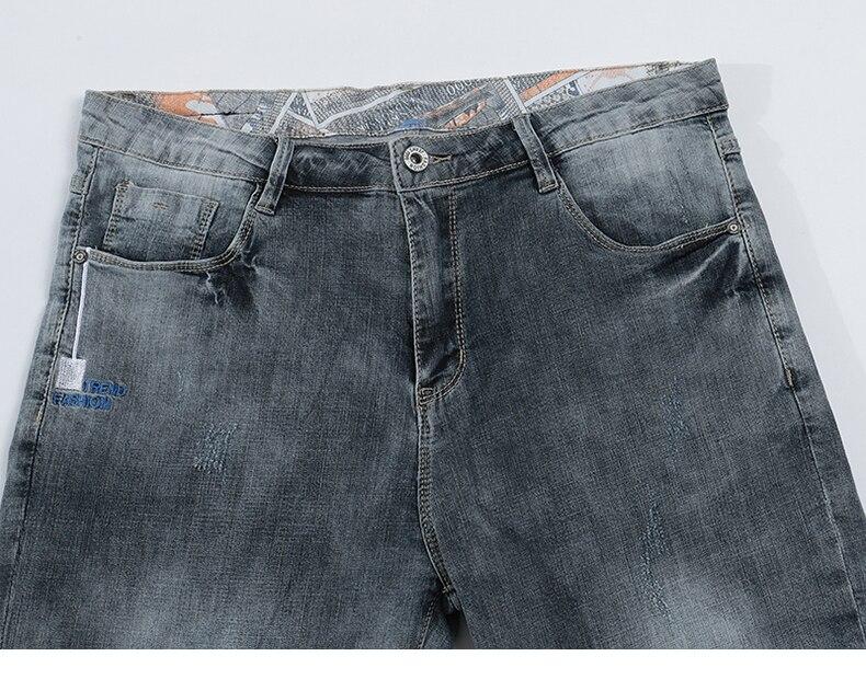 KSTUN Jeans Shorts Mens Grey Jeans Stretch Slim Straight Vintage Casaul Pants Summer Denim Shorts Male Jeans High Quality Brand 13