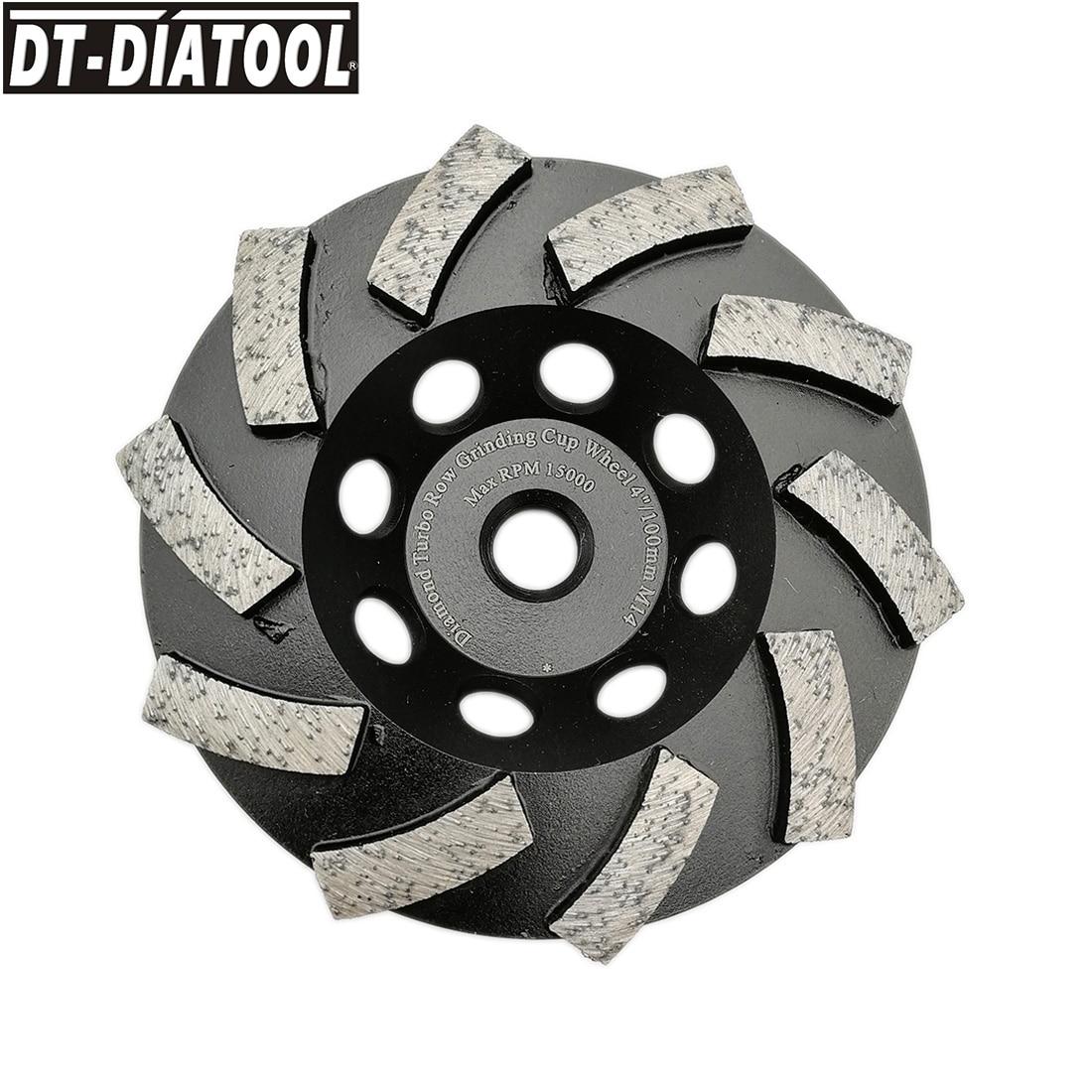 DT-DIATOOL Dia 100mm/4inch M14 Thread Diamond Segmented Turbo Row Cup Grinding Cup Wheel Granite Marble Concrete Diamond Wheel
