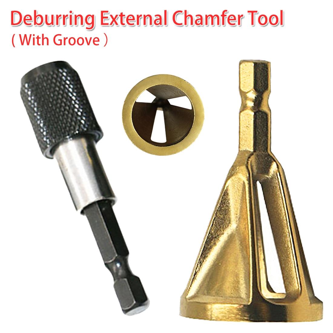 Remove Burr 4-19mm Work Range Stainless Steel Deburring External Chamfer Tool Drill Bit 1/4 Shank For Copper/ Wood/ Plastic