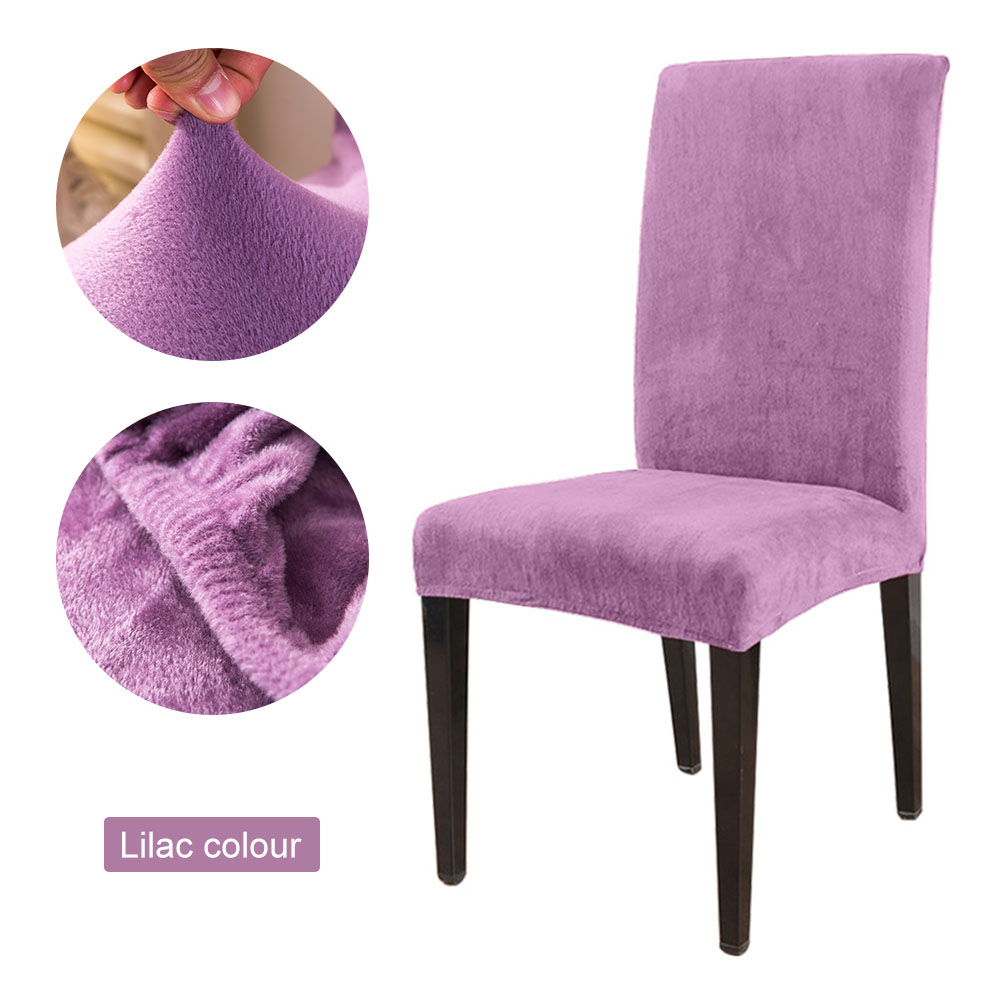 1 to 6 Pcs Removable Chair Cover Made with Stretchable Thick Plush Material for Banquet Chair 19