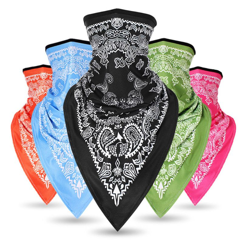 Unisex Cycling Sport Bandana Wrap Triangle Scarf Face Mask Paisley Floral Neon Bright Neck Gaiter Tube Hip Hop Headband