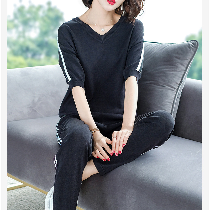 Sweetheart Neckline Western Style Sports WOMEN'S Suit Summer 2019 Loose-Fit-Style Half Sleeve T-shirt Knitted Piece Fashion