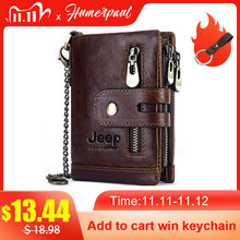 HUMERPAUL Cowhide Genuine Leather Men Wallet Coin Purse Small Mini Card Holder Vintage PORTFOLIO Portomonee Hasp Male pockect