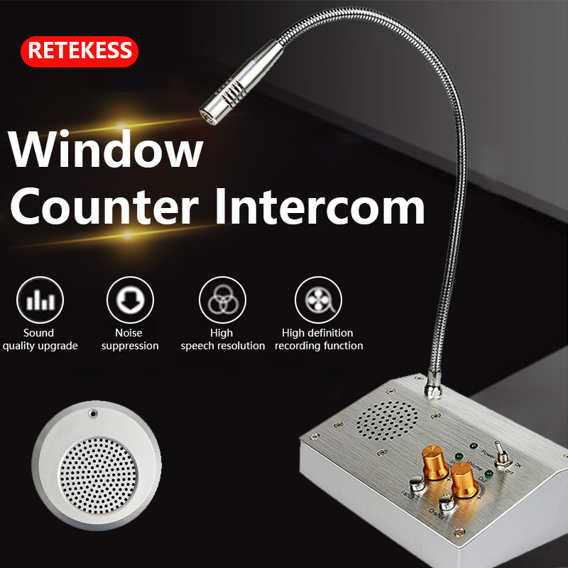 2W Dual Way Window Counter Intercom Dual-way Counter Interphone System For Bank Pharmacy Office Store Station Zero Touch F4455A