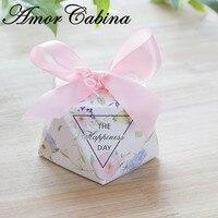 50pcs European pink diamond shape flower deer / happy day candy box wedding like Bomboniere paper gift box party chocolate box
