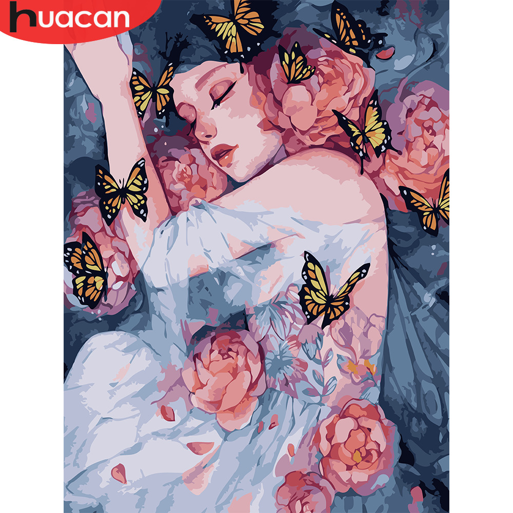 HUACAN DIY Oil Painting By Numbers Girl Cartoon HandPainted Kits Drawing Canvas Pictures By Numbers Portrait Home Decor Gift
