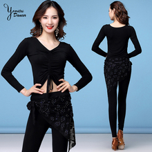 2020 Spring Latin Dance Clothes Female Adult Autumn Winter Practice Costume Set Long Sleeve Black Tops Vneck Pants for Training