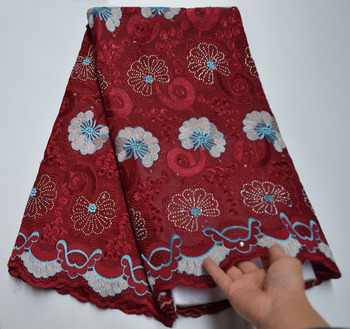 2020 High Quality Embroidered Swiss Voile Lace In Switzerland With Stones Wine Nigerian Cotton Lace Fabric For Dresses PSA30-1