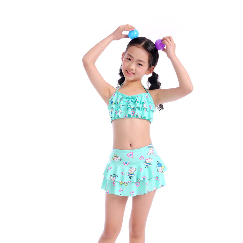 Drop Love For Water New Style Big Boy Cartoon Printed Tour Bathing Suit Korean-style Camisole Small Clear Girls KID'S Swimwear