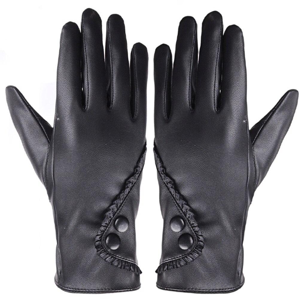 Fashion Women Soft Leather Gloves Winter Warm Mitten Female Warm Fur Mittens Lady Touch Screen Punk Gloves Rekawiczki Zimowe