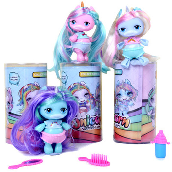 Fashion Doll Soft Stuffed Kawaii Unicorn Rubber Baby Girls Boys Play House Toy Interactive Dolls For Kids Gift недорого