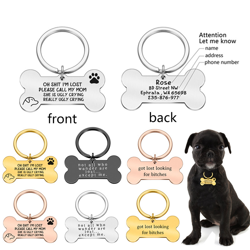 Anti-lost Personalized Pet ID Tag Engraved Pet ID Name Tel for Cat Puppy Dog Collar Tag Bone Pet Accessories Custom Dog Tag