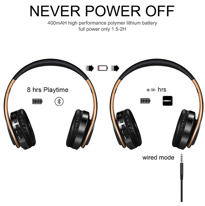 Foto of power Wireless foldable headphones with mic. Foldable wireless earphones for mp3