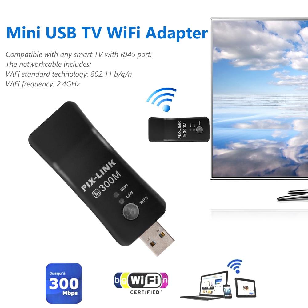 Adaptador universal sem fio para tv, adaptador usb 300mbps para samsung lg sony smart tv rj45 wps