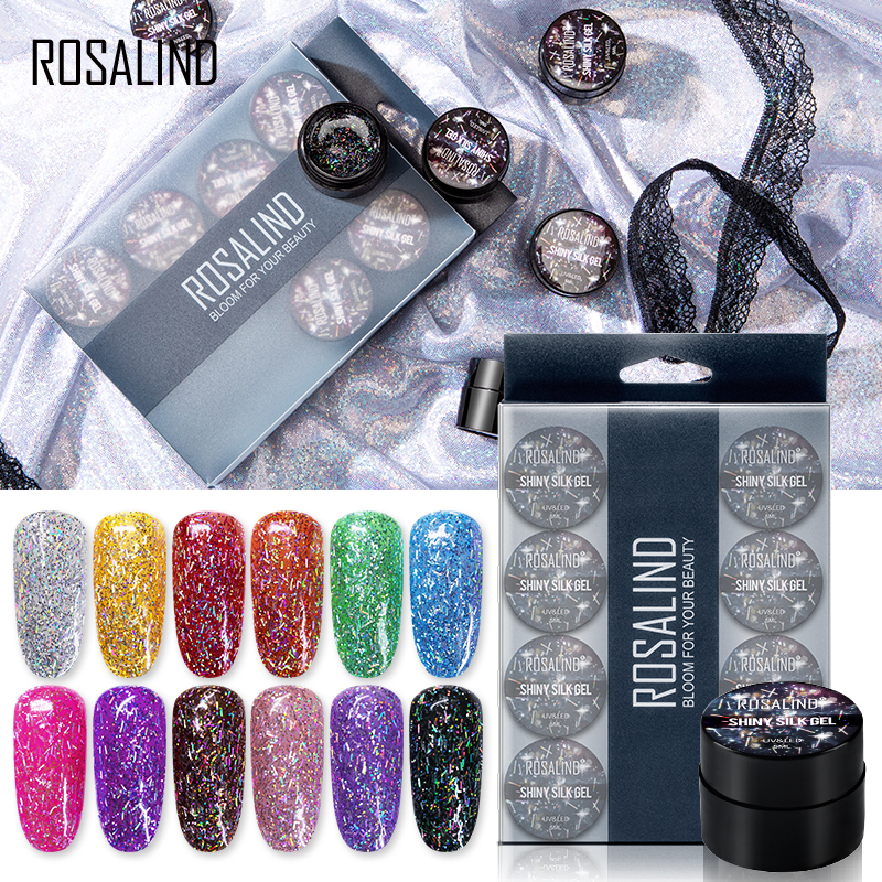 ROSALIND 12PCS/SET Shiny Silk Gel Nail Polish Manicure Kit Nail Art Design Hybrid Glitter Platinum Gel Lacquer Top Base Coat