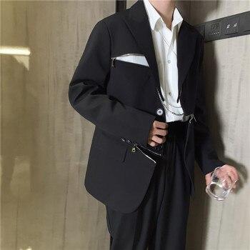 Male Japan High Street Suit Coat Outerwear Spring Autumn Men Zipper Design Casual Suit Blazer Jacket Overcoat
