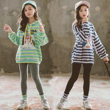 цены Girls Clothes Sets 2019 Autumn Winter Korean Style Casual Striped Hooded + Long Pants Two-piece Set for 7 8 9 10 12 14 Year