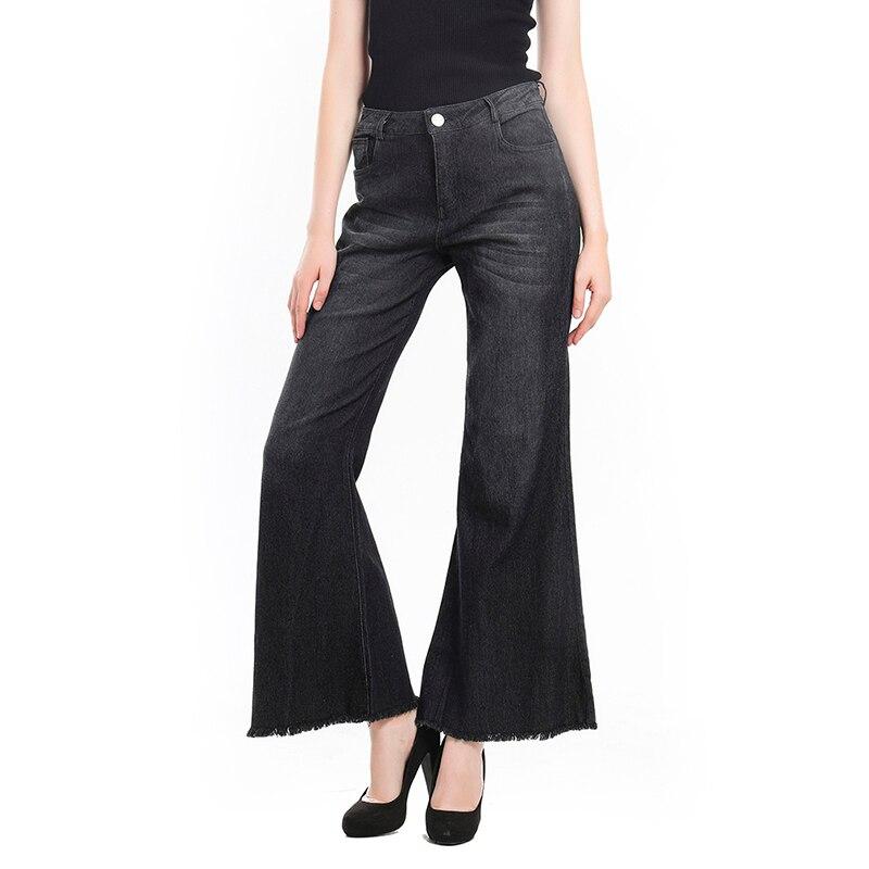 Women   Wide     Leg     Pants   Tassel Spodnie Damskie Thin Stretch   Pants   Middle Waist Denim Pocket Button Casual Flare   Pants   Plus Size