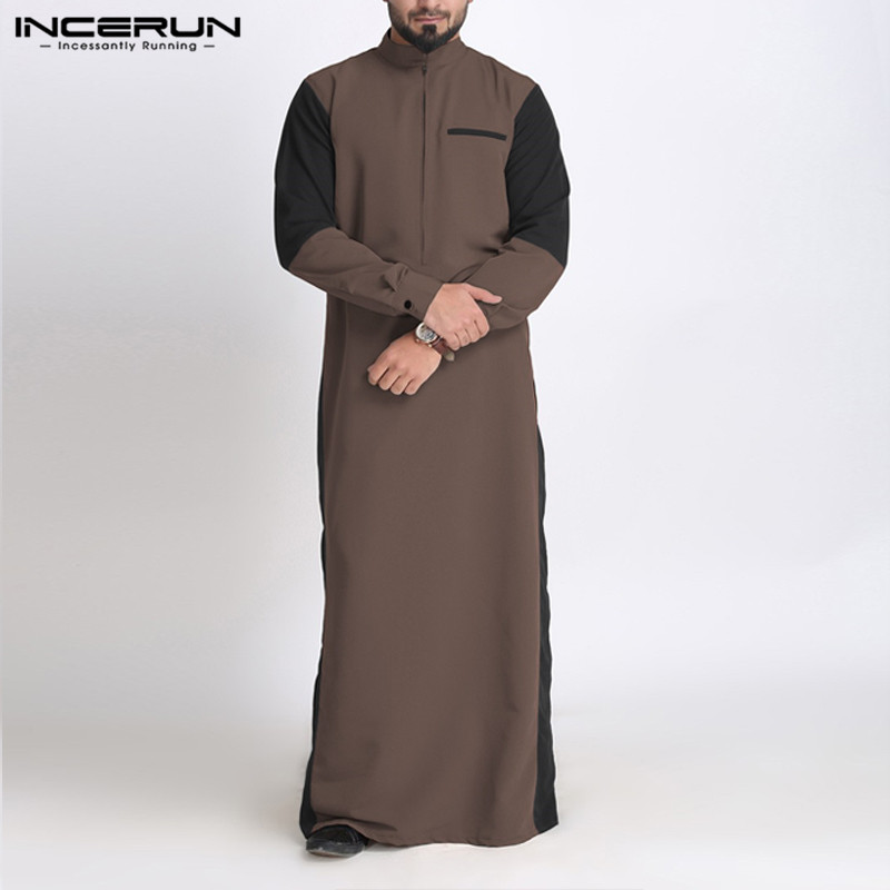 INCERUN Muslim Men Kaftan Islamic Robes Long Sleeve Stand Collar Patchwork Vintage Casual Jubba Thobe Arabic Men Clothing S-5XL