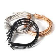 5 pçs/lote Ródio Ouro Configuração da Base de Aço Inoxidável Banda de Cabeça Faixas de Cabelo Hairwear para Mulheres Que Fazem Jóias Componentes DIY