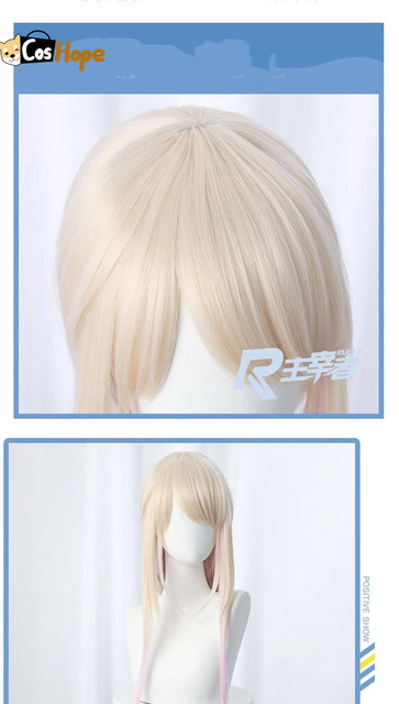 Fujito Chiyuki Cosplay Woman Long Yellow Gradient Light Pink Wig Cosplay Anime Cosplay 80cm Wig Heat Resistant Synthetic Wigs