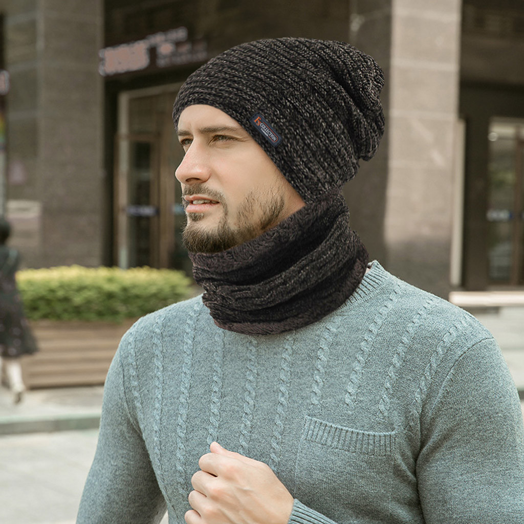New Winter Warm Hat Scarf Set Plush Beanies Hats Knitted Thick For Men Women Cap Collar Suit Plus Velvet Hat 2pcs Sets For Male
