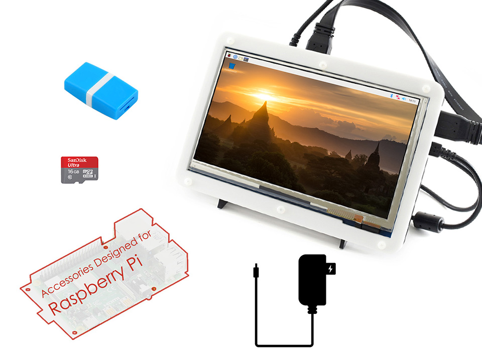 <font><b>Raspberry</b></font> <font><b>Pi</b></font> <font><b>4</b></font> <font><b>Modell</b></font> <font><b>B</b></font> Display Kit mit 7 zoll Kapazitiven Touch LCD, Micro SD Karte, etc. image
