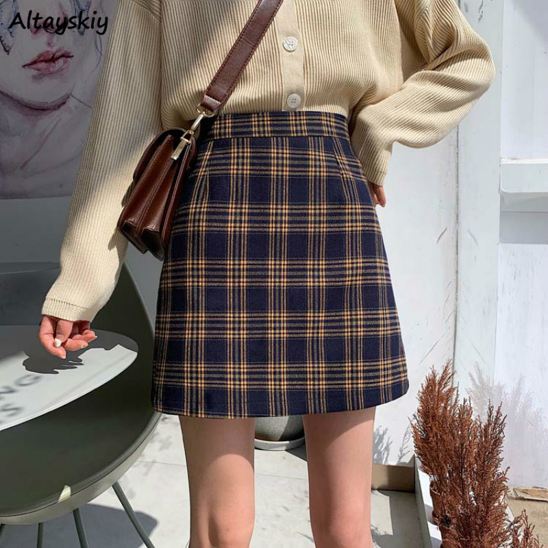 Skirts Women Plaid Vintage Korean New High Quality Ladies Korean Style Mini A-Line Skirt Casual High-Waist Slim Harajuku Clothes