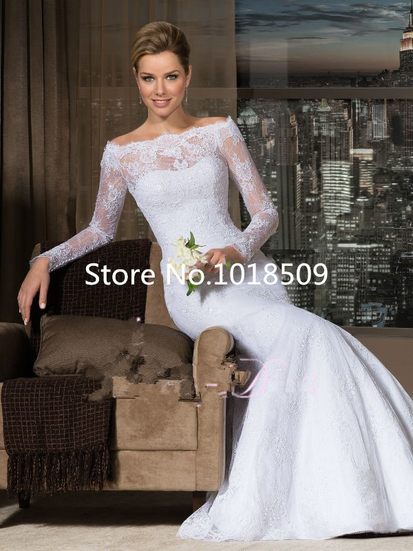Vestido De Novia Long Sleeve Mermaid Lace Custom Made Sweep Train Cheap Brides New Bridal Gown 2018 Mother Of The Bride Dresses