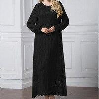 Women Muslim Lace Dress Plus Size Black Long Sleeve Abaya Kaftan Dubai Qatar UAE Oman Full Dress Robe Femme Islamic Clothing