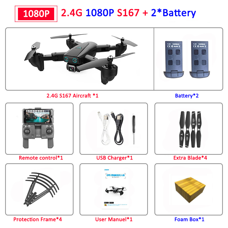 S167 Foldable Profissional Drone with Camera 4K HD Selfie 5G GPS  WiFi FPV Wide Angle RC Quadcopter Helicopter Toy E520S SG900-S