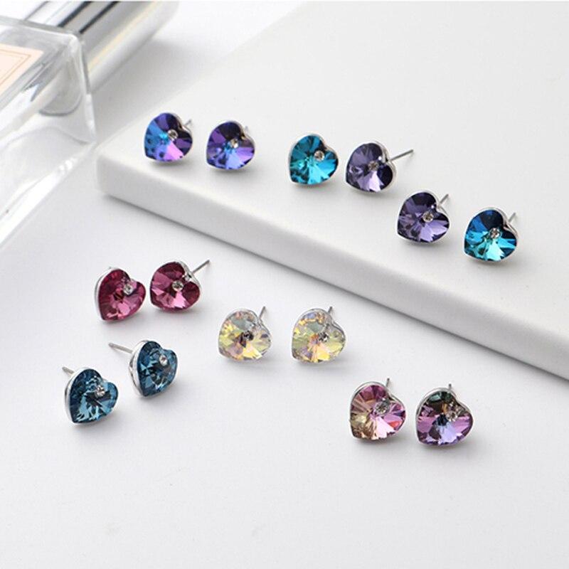11.11 vente nouveau coeur goujon ensemble de boucles d'oreilles pour les femmes fiançailles fête bijoux accessoires mode filles boucles d'oreilles bijoux cadeau